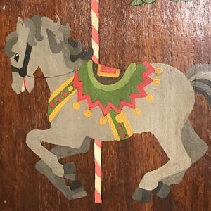 Other - Handmade Carousel Horse Wood Shield Pink Gray